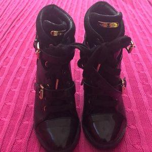 Michael Kors leather wedge booties!